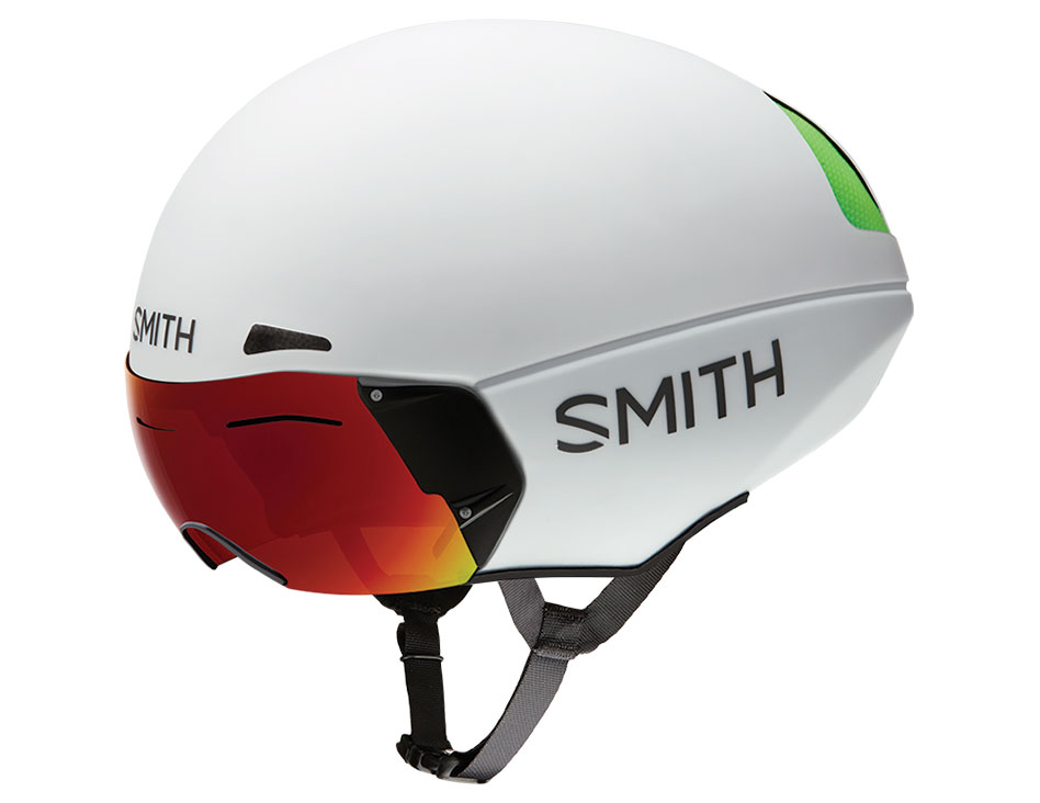 SMITH PODIUM TT MIPS ROAD BIKE HELMET - MATTE WHITE / CHROMAPOP EVERYDAY RED MIRROR + CLEAR