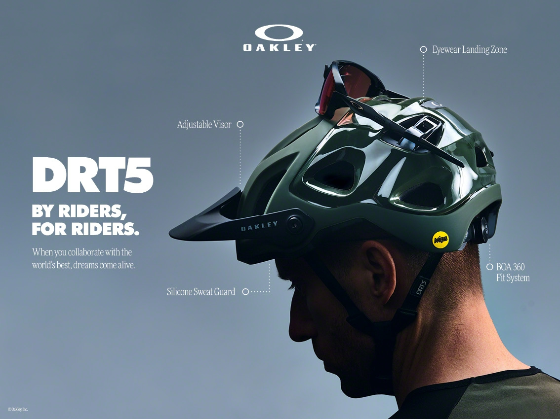 e165265951eea The Oakley DRT5 mountain bike helmet is up to the challenge of any trail.  Equipped with MIPS technology as standard