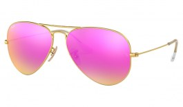 Ray-Ban RB3025 Aviator Sunglasses - Matte Gold / Cyclamen Flash