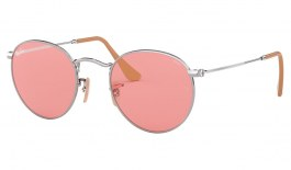 Ray-Ban RB3447 Round Metal Sunglasses - Silver / Evolve Pink Photochromic