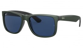 Ray-Ban RB4165 Justin Sunglasses - Metallic Green on Black / Dark Blue