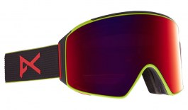 Anon M4 Cylindrical MFI Ski Goggles - Black Pop / Perceive Sunny Red + Perceive Cloudy Burst