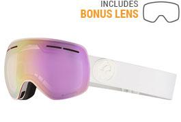 Dragon X1S Ski Goggles - White Out / LumaLens Pink Ion + Dark Smoke