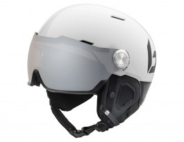 Bolle Might Visor Premium Ski Helmet - Shiny White & Black / Modulator Silver Visor