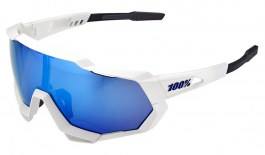 100% Speedtrap Sunglasses - Matte White / HiPER Blue Multilayer Mirror + Clear