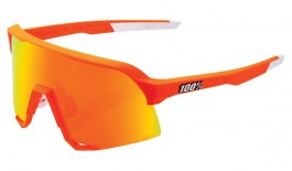 100% S3 Sunglasses - Soft Tact Neon Orange / HiPER Red Multilayer Mirror + Clear