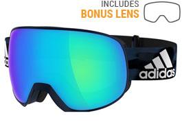 adidas ad83 Progressor Pro Pack Ski Goggles - Mystery Blue / Blue Mirror + LST Bright Blue Mirror