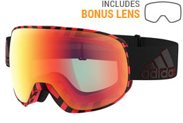 adidas ad83 Progressor Pro Pack Ski Goggles - Black Red / Red Mirror + Light Red Mirror