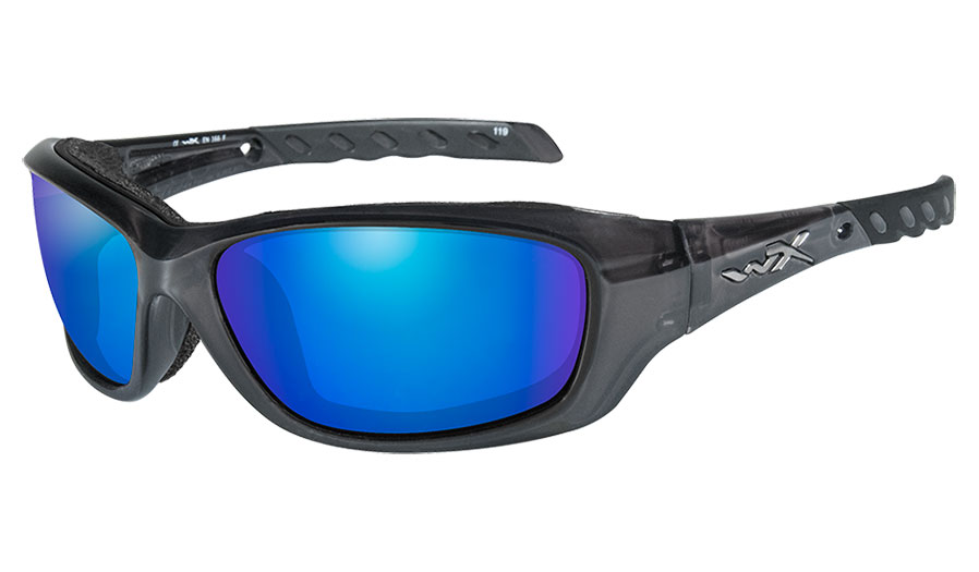 Wiley X Gravity Sunglasses - Black Crystal / Green Blue Mirror Polarised