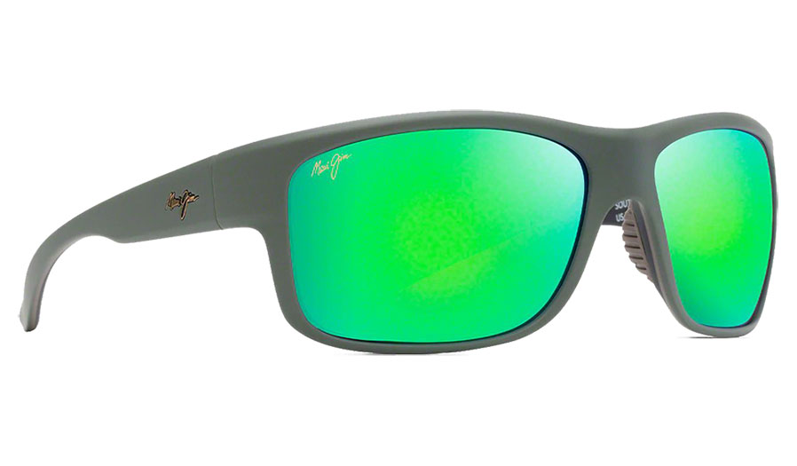 Maui Jim Southern Cross Sunglasses - Soft Matte Khaki with Brown and Black / MauiGreen Polarised