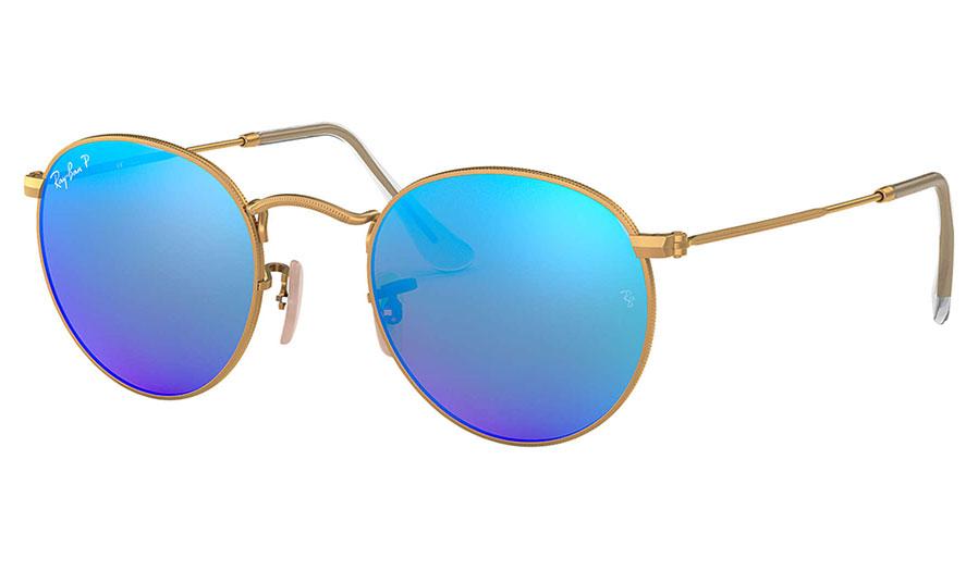 Ray-Ban RB3447 Round Metal Sunglasses - Matte Gold / Blue Mirror Polarised