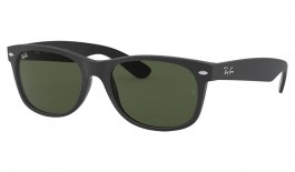 Ray-Ban RB2132 New Wayfarer Sunglasses - Rubber Black on Shiny Black / Green
