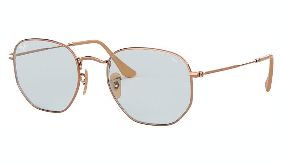 Ray-Ban RB3548N Hexagonal Flat Lens Sunglasses - Copper / Evolve Light Blue Photochromic