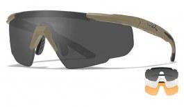 Wiley X Saber Advanced Prescription Sunglasses - Clip-On Insert - Matte Tan / Smoke Grey + Clear + Light Rust