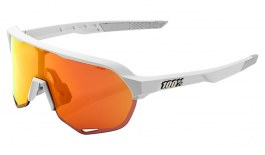 100% S2 Sunglasses - Matte Off White / HiPER Red Multilayer Mirror + Clear