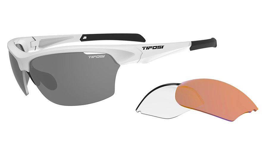 Tifosi Intense Sunglasses - Matte White / AC Red + Clear + Smoke