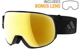adidas ad83 Progressor Pro Pack Ski Goggles - Matte Black / Gold Mirror + LST Bright Blue Mirror