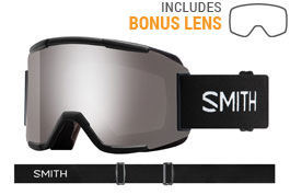 Smith Optics Squad Ski Goggles - Black / ChromaPop Sun Platinum Mirror + Yellow