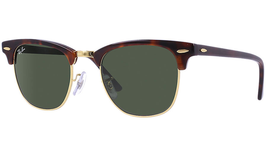 4b0196511444 Ray-Ban RB3016 Clubmaster Sunglasses - Tortoise   Gold   Green (G-15 XLT) -  RxSport