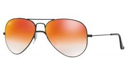 Ray-Ban RB3025 Aviator Sunglasses - Black / Orange Gradient Flash