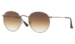 Ray-Ban RB3447N Round Metal Flat Lens Sunglasses - Gunmetal / Light Brown Gradient