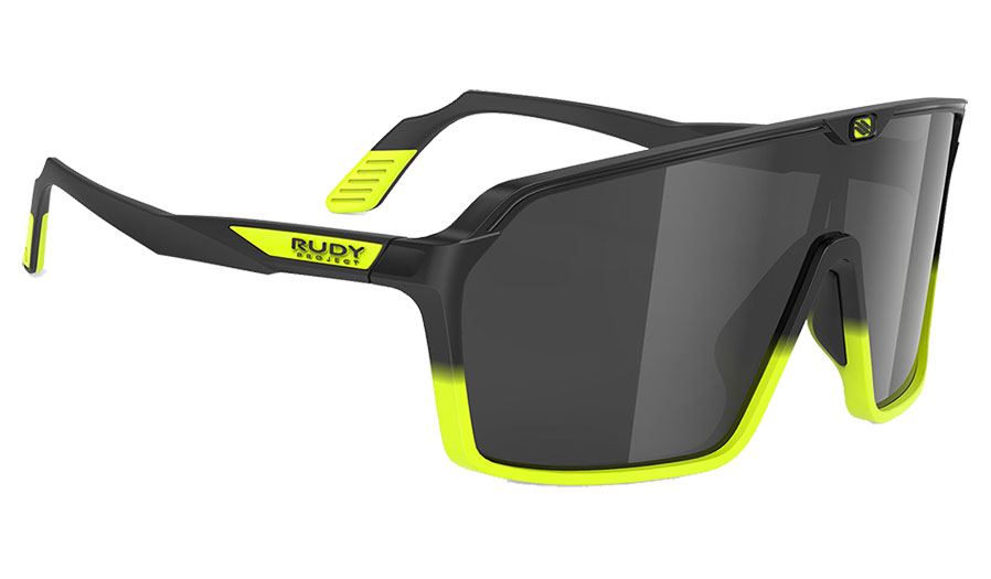 Rudy Project Spinshield Sunglasses - Matte Black Yellow Fade / Smoke Black