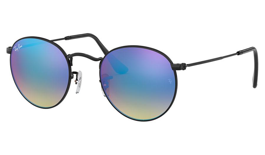 Ray-Ban RB3447 Round Metal Sunglasses - Black / Blue Gradient Flash