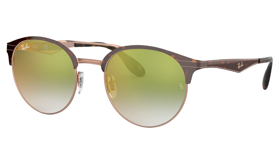 Ray-Ban RB3545 Sunglasses - Tortoise & Bronze Copper / Green Gradient Red Mirror