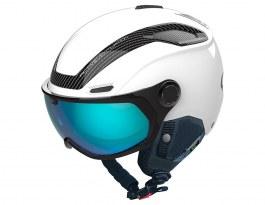 Bolle V-Line Carbon Visor Ski Helmet - Matte White / Phantom Blue Photochromic