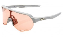100% S2 Sunglasses - Soft Tact Stone Grey / HiPER Coral + Clear