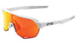 100% S2 Sunglasses - Soft Tact Off White / HiPER Red Multilayer Mirror + Clear