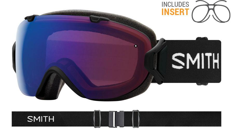 Smith Optics I/OS Prescription Ski Goggles - Black / ChromaPop Photochromic Rose Flash + ChromaPop Sun Black