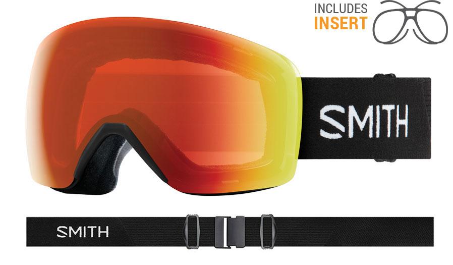 Smith Optics Skyline Prescription Ski Goggles - Black / ChromaPop Everyday Red Mirror