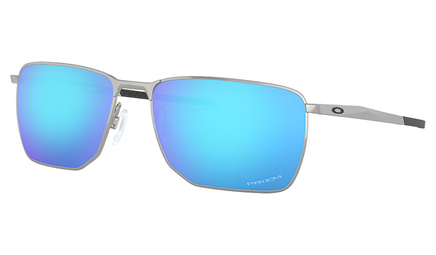 Oakley Ejector Sunglasses - Satin Chrome / Prizm Sapphire