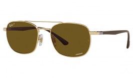 Ray-Ban RB3670CH Sunglasses - Gold / Brown Crystal Chromance Polarised