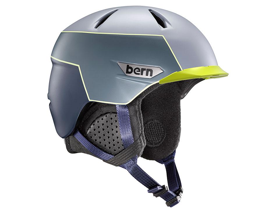 Bern Weston Peak Ski Helmet - Matte Slate Blue & Hyper Green Trim