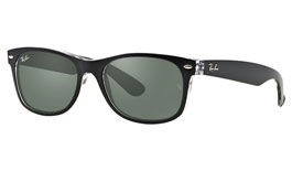 Ray-Ban RB2132 New Wayfarer Prescription Sunglasses - Black on Transparent