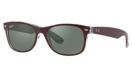 Ray-Ban RB2132 New Wayfarer Prescription Sunglasses - Bordeaux on Transparent