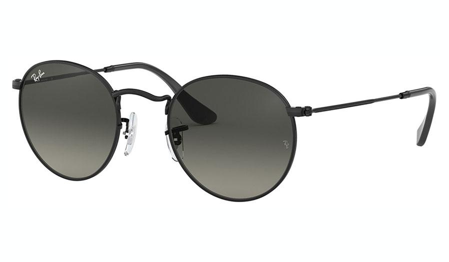 Ray-Ban RB3447N Round Metal Flat Lens Sunglasses - Black / Grey Gradient