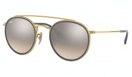 Ray-Ban RB3647N Round Double Bridge Sunglasses - Gold / Brown Gradient Silver Mirror