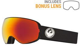 Dragon X2s Ski Goggles - Black / LumaLens Red Ion + LumaLens Rose