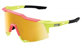 100% Speedcraft Sunglasses - Matte Washed Out Neon Yellow / Flash Gold Mirror + Clear