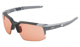 100% Speedcoupe Sunglasses - Soft Tact Stone Grey / HiPER Coral + Clear