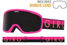 Giro Moxie Ski Goggles - Bright Pink Throwback / Ultra Black + Yellow