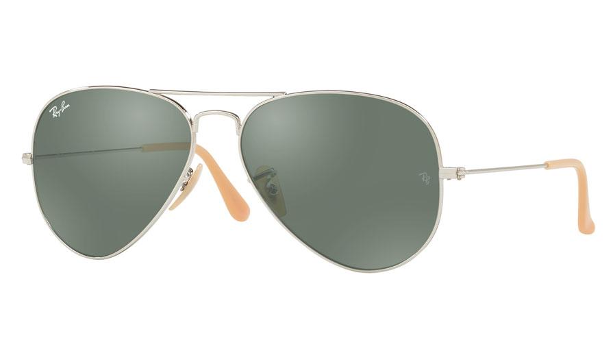 ea60e6f7a0a84d Ray-Ban RB3025 Aviator Prescription Sunglasses - Silver (Nude Temple Tips)  - RxSport