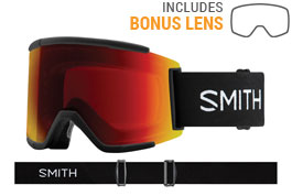 Smith Optics Squad XL Ski Goggles - Black / ChromaPop Sun Red Mirror + ChromaPop Storm Rose Flash