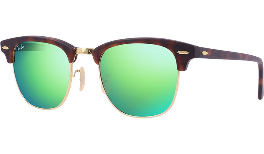 2f9ece4128df Ray-Ban RB3016 Clubmaster Sunglasses - Flash Lenses - Tortoise   Gold    Grey w Green Mirror - RxSport