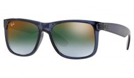 Ray-Ban RB4165 Justin Sunglasses - Transparent Blue / Green Gradient Red Mirror