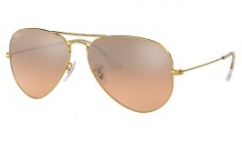 Ray-Ban RB3025 Aviator Sunglasses - Gold / Brown Pink Gradient Silver Mirror