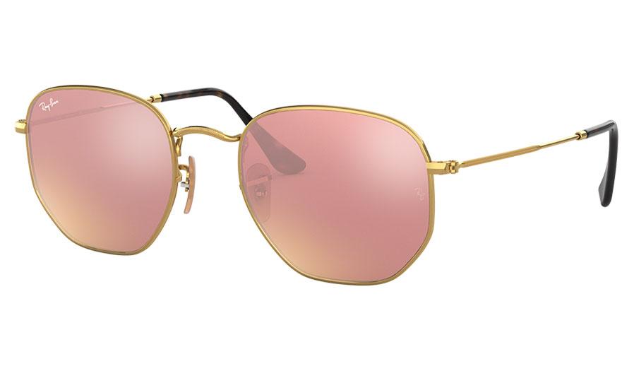 Ray-Ban RB3548N Hexagonal Flat Lens Sunglasses - Gold / Copper Flash